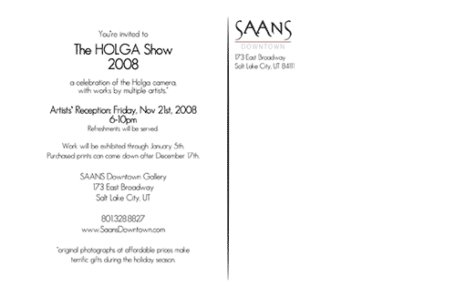 saans downtown holga show invite - back